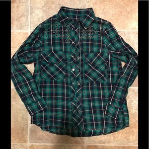 Tops - EUC Green Plaid Rustic Country Button Up Shirt M